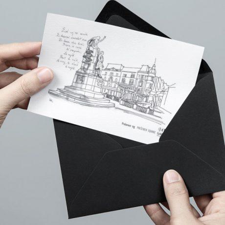 Razglednica | Postcard | Prešernov trg | BelaLjubljana