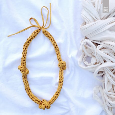 Oker ogrlica L | Crocheted necklace mustard L